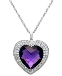 Macy's Amethyst 7 1 3 Ct. T.W. And White Topaz 5 8 Ct. T.W. Heart Pendant Necklace In Sterling Silver