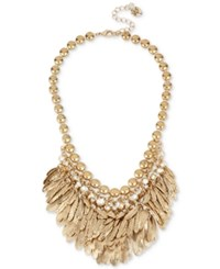 Betsey Johnson Gold Tone Feather And Crystal Shaky Collar Necklace