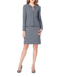 Tahari By Arthur S. Levine Plus Mesh Accented Skirt Suit Set Cool Grey