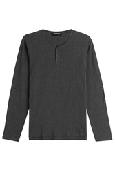 The Kooples Cotton Top With Leather Trim Grey