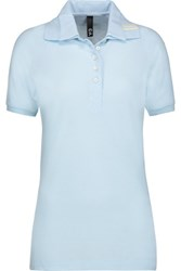 Y 3 Adidas Modal And Cotton Blend Pique Polo Shirt Sky Blue