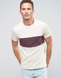 Farah T Shirt With Chest Band In Slim Fit Cream Ecru