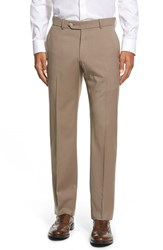Men's Big And Tall Ballin Flat Front Solid Wool Trousers British Tan