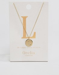 Orelia Gold Plated Necklace With Initial L Gold
