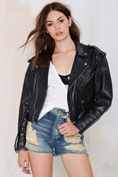 Nasty Gal Vintage Rough Rider Leather Moto Jacket