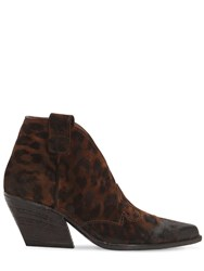 Strategia 50Mm Animalier Leather Cowboy Boots Black Brown