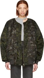 Facetasm Green Camo Bug Ma 1 Bomber Jacket
