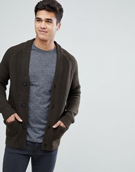 Celio Cardigan In Chunky Knit Khaki Green
