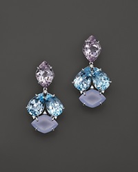 Vianna Brasil 18K White Gold Earrings With Blue Topaz Chalcedony Pink Amethyst And Diamond Accents