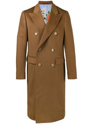 Gucci Double Breasted Classic Coat Men Silk Cashmere 50 Brown