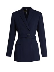 Versace Single Breasted Notch Lapel Crepe Jacket Navy