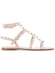 Valentino Garavani Rockstud Ankle Strap Sandals Nude And Neutrals