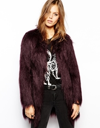 Unreal Fur Wanderlust Coat In Wine Faux Fur