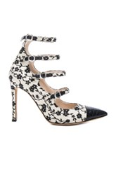 Altuzarra Isabella Multi Strap Mary Jane Heels In White Floral White Floral