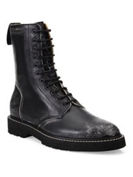 Maison Martin Margiela Destroyed Leather High Top Boots Black