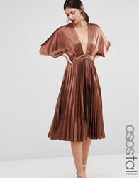 Asos Tall Pleated Satin Kaftan Midi Dress Brown