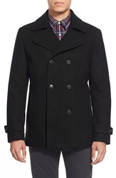 7 For All Mankind Double Breasted Wool Blend Peacoat Black