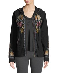 Johnny Was Cherelle Zip Front Embroidered Hoodie Black