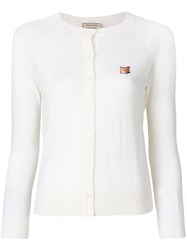 Maison Kitsune Cropped Embroidered Patch Cardigan White