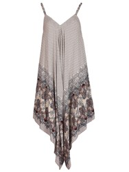 Izabel London Diamond Printed Scarf Hem Jumpsuit Natural