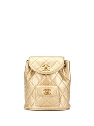 Chanel Pre Owned Cc Chain Backpack Bag Gold