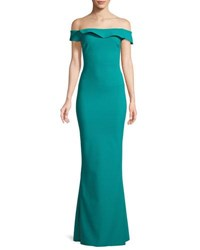 Chiara Boni La Petite Robe Zaina Off The Shoulder Mermaid Gown Pavone