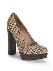 Missoni Multistriped Chunky Heel Platform Pumps Yellow