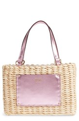 Frances Valentine Small Woven Straw Tote Pink
