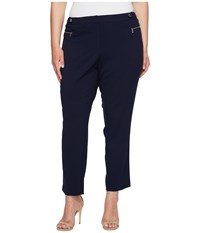 Calvin Klein Plus Size Straight Pants With Buckle Zip Twilight Women's Casual Pants Blue
