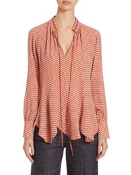 Derek Lam Printed Long Sleeve Blouse Pale Shell
