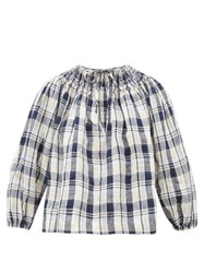 Innika Choo Hope Filhorts Smocked Gingham Blouse Navy Multi