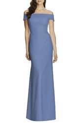 Dessy Collection Women's Off The Shoulder Crepe Gown Larkspur