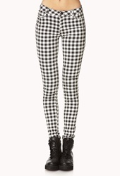 Forever 21 Rad Plaid Skinny Jeans Cream Black