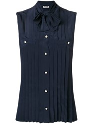 Miu Miu Pussy Bow Pleated Shirt Blue