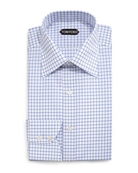 Tom Ford Windowpane Pattern Silk Dress Shirt Blue White