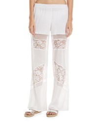 Flora Bella Amour Wide Leg Cotton Gauze Coverup Pants With Lace Trim White