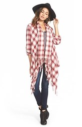 Junior Women's Billabong 'Once Again' Flannel Cardigan White Cap