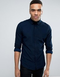 Esprit Shirt In Slim Fit With Jacquard Stitch Detail Navy