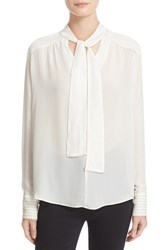 Parker Women's 'Joy' Beaded Tie Neck Silk Blouse