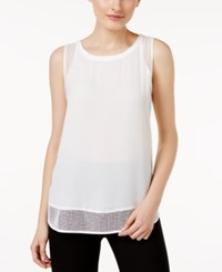 Cable And Gauge Mesh Trim Tank Top Ivory Ivory Mesh