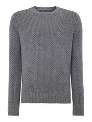Peter Werth Stanley Pattern Crew Neck Pull Over Jumpers Silver