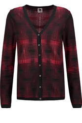 M Missoni Plaid Crochet Knit Cardigan Red