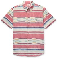 Faherty Coast Striped Cotton Shirt Pink