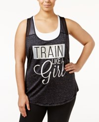 Ideology Plus Size Achieve Graphic Racerback Tank Top Only At Macy's Noir