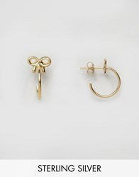 Asos Gold Plated Sterling Silver Bow 24Mm Hoop Earrings Gold