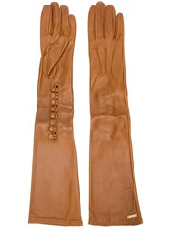 Dsquared2 Calf Leather Long Gloves Brown