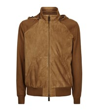 Canali Suede Bomber Jacket Male Tan