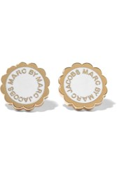 Marc By Marc Jacobs Scalloped Gold Tone Enamel Earrings White