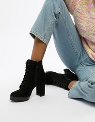 Raid Atlas Black Chunky Lace Up Heeled Ankle Boots Black Suede