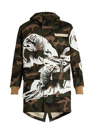 Valentino Panther And Camouflage Print Parka Green Multi